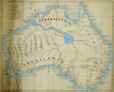 Maslen's map of the mythical inland sea of Australia.  In the early 19th century, with the majority of the non-coastal areas of  Australia still unexplored, the commonly held misconception was that central Australia must have an inland sea and major river system.