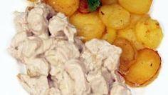 Smažené brambory se smetanovými kuřecími kousky