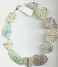 Necklace | via. Ocean Offerings.  Sea Glass with sterling silver