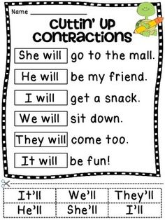Free Printable Contraction Worksheets  Worksheets Free printable