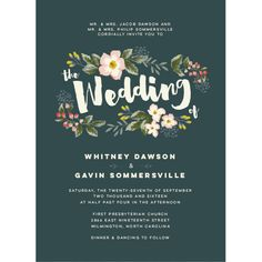 Floral Script Wedding Invitations by Jennie Hake | Elli