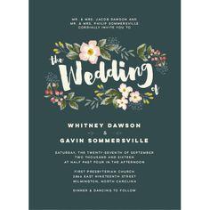 Floral Script Wedding Invitations by Jennie Hake | Elli