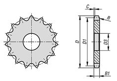 """Disques simples 3/4"""" x 7/16"""" DIN ISO 606 // Sprockets single 3/4"""" x 7/16"""" DIN ISO 606 // 22264"""