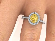Natural Yellow Diamond Engagement Ring, Not Treated Genuine Yellow Diamond Ring, Natural Diamond Wedding Ring, Intense Yellow Diamond Ring by BridalRings on Etsy https://www.etsy.com/listing/471162669/natural-yellow-diamond-engagement-ring