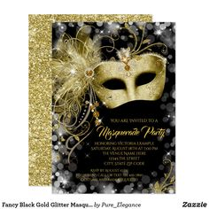 Fancy Black Gold Glitter Masquerade Party Invitation - tap to personalize and get yours