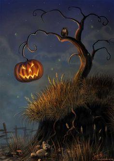 The Forest of Hollyhock - Fairyland Retro Halloween, Halloween Chat Noir, Theme Halloween, Halloween Trees, Halloween Cards, Holidays Halloween, Halloween Pumpkins, Halloween Decorations, Halloween Night