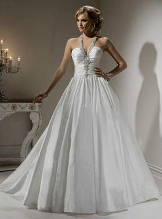 Fashionable Halter Dropped waist Taffeta wedding dress $363.00