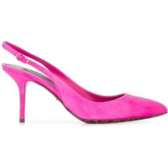 Dolce & Gabbana Suede Sling-Back Pumps ($335) ❤ liked on Polyvore featuring shoes, pumps, pink, pink suede pumps, stiletto pumps, pointed-toe pumps, pointed toe ankle strap pumps and pink stilettos