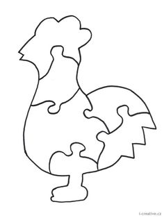 Wood Puzzles Plans - Make your child a rooster puzzle for fun on a rainy day. Puzzle Piece Crafts, Puzzle Pieces, Rooster Craft, Colegio Ideas, Quiet Book Templates, Felt Fish, Wood Craft Patterns, Silhouette Clip Art, Felt Quiet Books