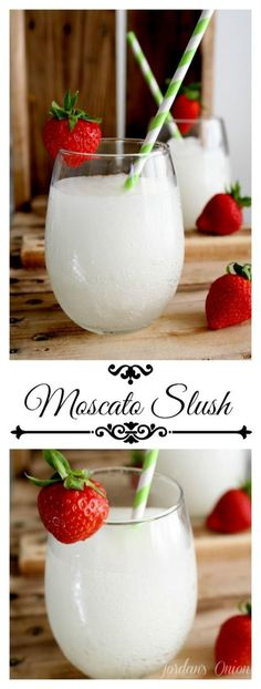 Moscato Slush recipe - a refreshing and easy cocktail for your Summer get togeth. - Moscato Slush recipe – a refreshing and easy cocktail for your Summer get togethers Cocktails Bar, Party Drinks, Cocktail Drinks, Fun Drinks, Yummy Drinks, Cocktail Recipes, Easy Summer Cocktails, White Cocktails, Slush Recipes