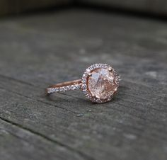 my ideal ring!! ...  round Peach Champane sapphire diamond ring 14k rose gold. $1,300.00