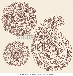 Hand-Drawn Henna Mehndi Tattoo Flowers and Paisley Doodle Vector Illustration Design Elements stock image