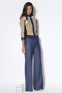 Escada RTW Spring 2013. geometric, clean cut, dimmed colours, broad trousers