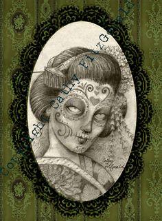 A4 Neo Victorian Dia de los Muertos  Day of the by misslilylocket, $12.00