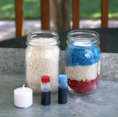 Fourth of July Votives   Would be fun for kids to help!