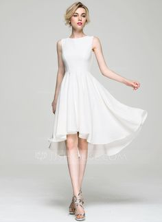 A-Line/Princess Scoop Neck Asymmetrical Zipper Up Regular Straps Sleeveless No 2016 Ivory Spring Summer Fall General Plus Satin Cocktail Dress