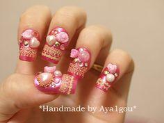 Hime gyaru, Japanese 3D nails, pink, decoden, rose and gems. 18.50, via Etsy.