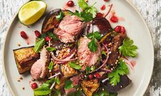 Yotam Ottolenghi's grilled lamb salad with pomegranate and buckwheat. Photograph: Louise Hagger for the Guardian. Ottolenghi Recipes, Yotam Ottolenghi, Lamb Recipes, Cooking Recipes, Healthy Recipes, Savoury Recipes, Healthy Food, Healthy Eating, Thai Beef Salad