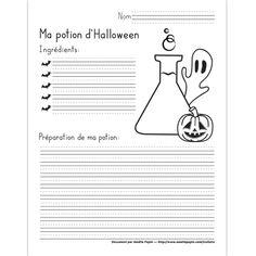 Fichier PDF téléchargeable En noir et blanc seulement 1 page L'élève doit inventer sa potion magique d'Halloween en mentionnant les ingrédients qui la compose et son mode de préparation. Il peut également la dessiner en complétant l'illustration.