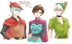 Mystic Messenger x Disney - V as Prince Phillip, Jaehee as Elsa, and Saeran as Peter Pan