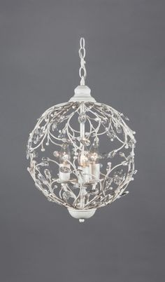 Round Rustic Antique White Shabby Chic Chandelier 3 Lights thinking it would look good hanging low at bedside