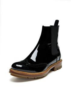 Patent Leather Elastic Bootie
