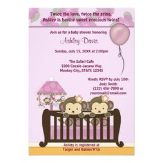 TWINS Monkey Child Bathe Invitation Crib ORCHID.  Discover more at the photo link