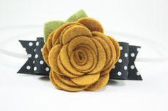 Baby Headband - Mustard and Black Felt Flower Headband - Newborn - Toddler - Girls Photo Prop on Etsy, $7.00