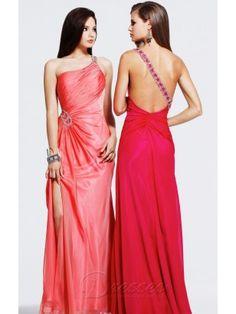 Wholesale Sheath Floor-length One Shoulder Pink Taffeta Dress