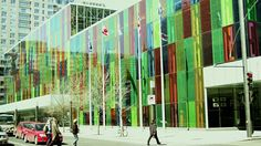 MS View of Colored Glass Windows of Palais des Congres de Montreal / Montreal, Quebec, Canada