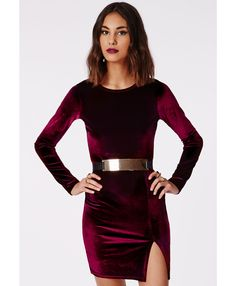 Shop Wine Red Long Sleeve Split Bodycon Dress online. Sheinside offers Wine Red Long Sleeve Split Bodycon Dress & more to fit your fashionable needs. Free Shipping Worldwide!