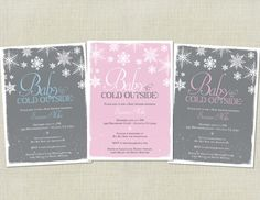 Baby It's Cold Outside Baby Shower Invitation / Snowflakes / Snow / Winter / Christmas / Seasonal / Green Blue Pink Grey / Printable invite by HappyHeartPrinting on Etsy https://www.etsy.com/listing/165691458/baby-its-cold-outside-baby-shower
