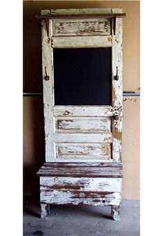 Hall Tree From An Old Door Chalk Board Window Comfortable Hall Tree Made From Antique Door Hall Tree Made From Old Door – Decorating Tips Repurposed Furniture, Rustic Furniture, Painted Furniture, Diy Furniture, Repurposed Doors, Furniture Buyers, Door Hall Trees, Hall Tree Bench, Old Door Bench