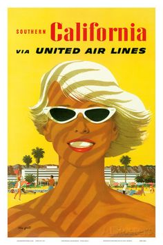Fly United Air Lines: Southern California, c.1955 Posters van Stan Galli bij AllPosters.nl