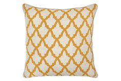 The lattice pattern on our Serafina Gold pillow can turn any design from ordinary to extraordinary. Shop online now. #LivingSpaces