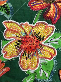 Boho Embroidery Jumpstart- embroidery over a printed floral fabric Crewel Embroidery Kits, Simple Embroidery, Vintage Embroidery, Floral Embroidery, Embroidery Patterns, Embroidery Thread, Colchas Quilting, Art Textile, Brazilian Embroidery