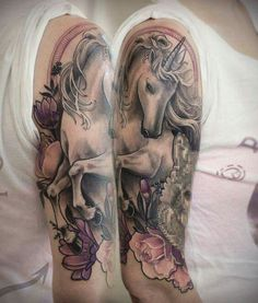 Awesome unicorn tattoo!! Would never do this but it's so pretty!