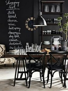 Chalkboard wall.  Oh!  and that chair in the kitchen! by iris-flower