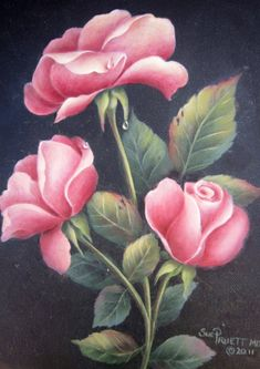Pretty Pink Roses - $9.95 e-packet of instructions and step by step photos acrylics by artist Sue Pruett
