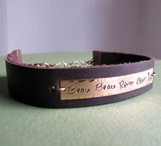 Hand Stamped Leather Bracelet. Mens Personalized by NadinGlassico