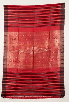 Large silk head dress shawl.  From Syria, c. early 20th century.  180 x 166 cm.