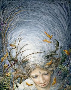 "Fairy painted in Watercolour by Melissa Mary Duncan, called ""Out Of The Blue"""