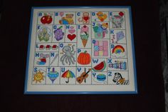 CrossStitched Alphabet Framed for Baby's room by classicalvintage, $25.00