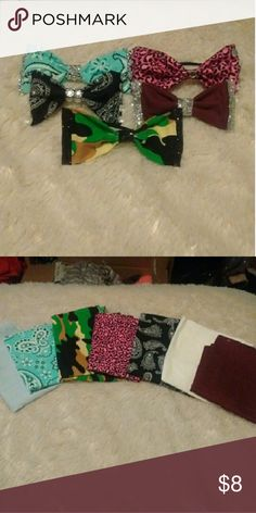 HAIR BOWS!! So I have started to make hair bows and I would like to sell them because I want people to enjoy them as much as I do so this listing is for custom hair bows I have the following patterns  ?maroon ?light blue bandana  ?pink cheetah print ?white ?black Paisley  ?camo ?baby blue  You can choose...   *Your pattern *If you want bling *Small or big *And hair clip or hair tie  They are all the same price.  Happy poshing! ?? Accessories Hair Accessories