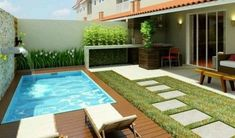 Lovely Backyard Patio Design Ideas With Beautiful Pool 15 Small Swimming Pools, Backyard Pool Landscaping, Backyard Patio Designs, Small Backyard Landscaping, Small Pools, Swimming Pools Backyard, Swimming Pool Designs, Small Patio, Patio Ideas