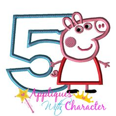 Pepper Pig Five Applique Embroidery Machine Design 4 sizes Instant Downoad by appliqueswcharacter on Etsy