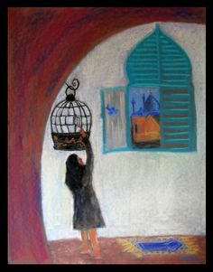 """Found at :  http://elena-malec.blogspot.com/2011/09/setting-free-bluebird-of-happiness.html """"An Iranian girl releases the blue bird of happiness from cage somewhere in Isfahan. A blue bird is a universal symbol of cheerfulness, happiness, hope, renewal and the pious Muslim girl who kept it captive in a her house decides one day to set the bird free. . . ."""