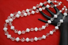 Trifari necklace double strand  white and by serendipitytreasure