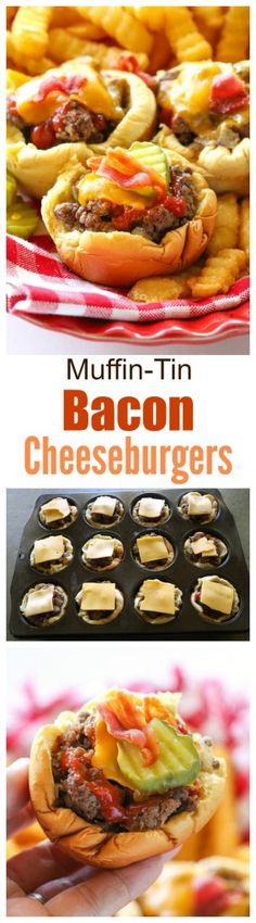 Tin Cheeseburgers Muffin-Tin Bacon Cheeseburgers - no drive through needed to eat these delicious handheld burgers. the-girl-who-ate-Muffin-Tin Bacon Cheeseburgers - no drive through needed to eat these delicious handheld burgers. the-girl-who-ate- Burger Recipes, Appetizer Recipes, Beef Recipes, Cooking Recipes, Party Recipes, Recipes Dinner, Recipies, Think Food, Love Food