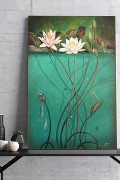 """Large teal abstract canvas giclée print of original painting """"Water Lily Ecosystem"""", large wall - Savanna Skule Teal Canvas Art, Bird Paintings On Canvas, Large Canvas Prints, Painting Collage, Oil Painting Abstract, Animal Paintings, Abstract Canvas, Original Paintings, Oil Paintings"""